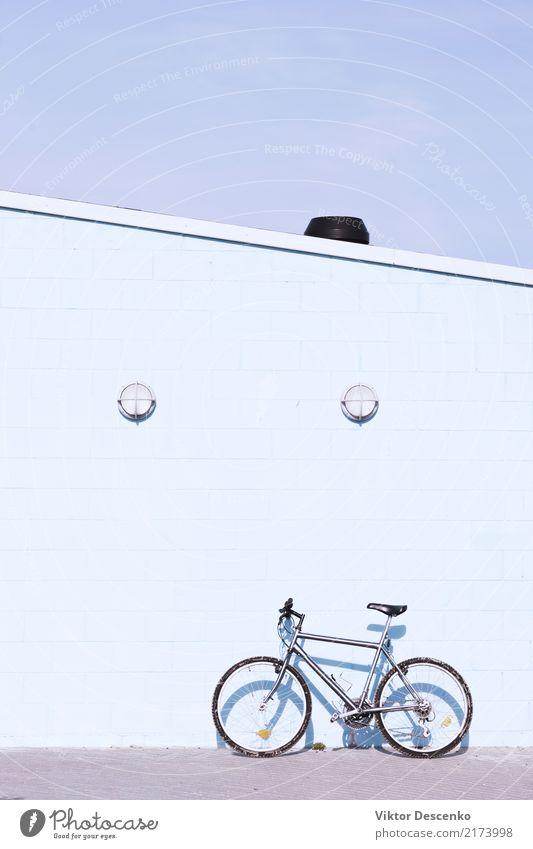 Fahrrad an der Wand an einem sonnigen Tag Mensch Natur Ferien & Urlaub & Reisen alt blau Sommer Farbe schön grün weiß Baum Haus Blatt Straße Sport Stil