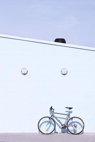 Fahrrad an der Wand an einem sonnigen Tag Stil Design schön Ferien & Urlaub & Reisen Sommer Haus Sport Mensch Kunst Natur Baum Blatt Ostsee Verkehr Straße Mode
