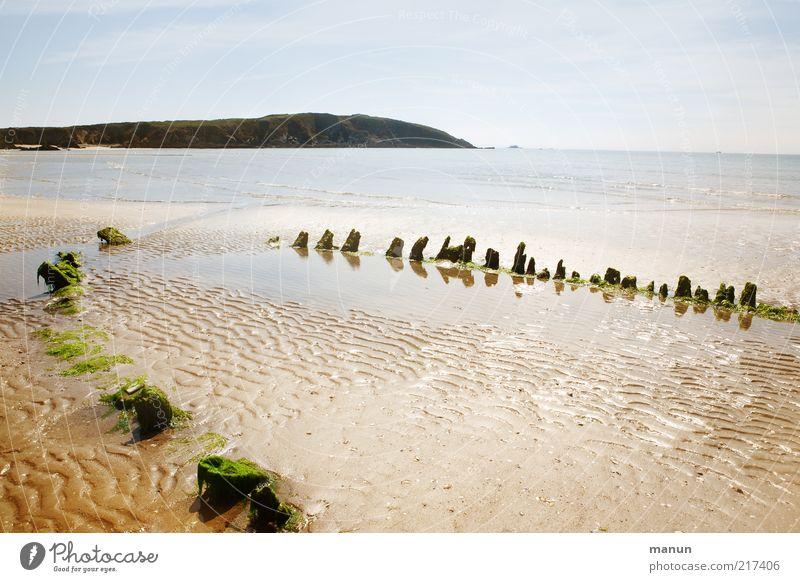 Das Boot Natur Meer Sommer Strand Sand Landschaft Küste authentisch kaputt Bucht Urelemente Fernweh Rest verrotten Fischerboot Schiffswrack