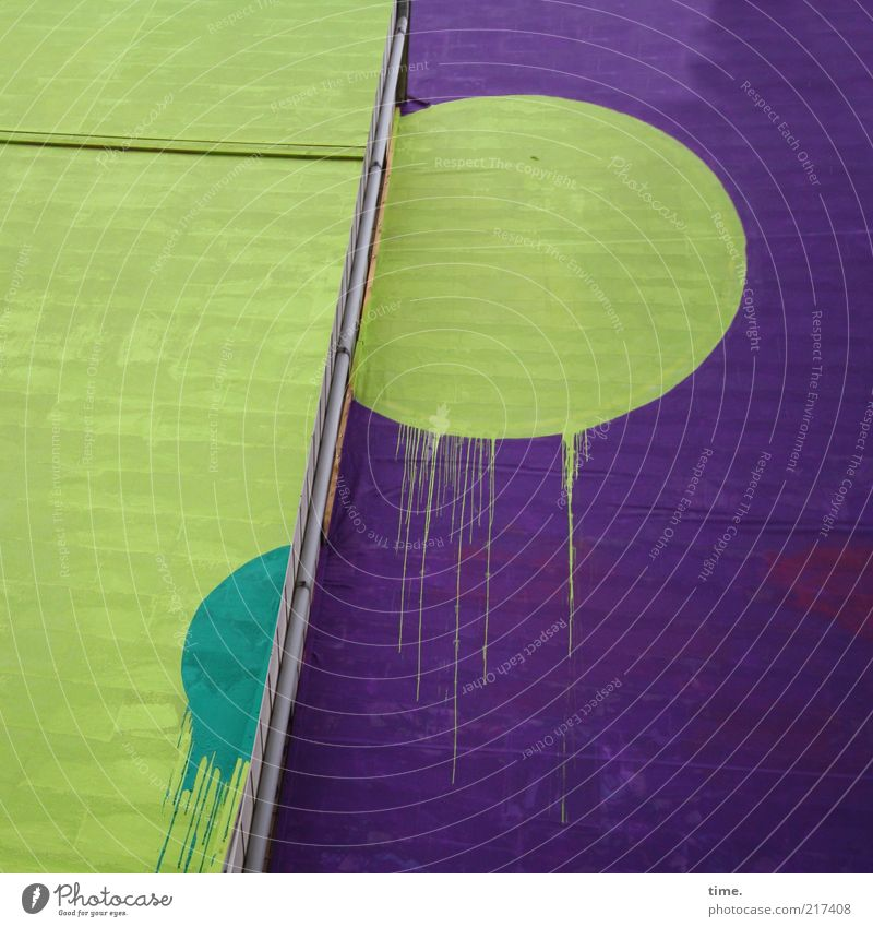 [HH10.1] - Batsch! grün Wand Farbstoff Mauer Gebäude Kunst Architektur Hintergrundbild Fassade Tropfen einfach violett Punkt Kugel Zeichen Bauwerk