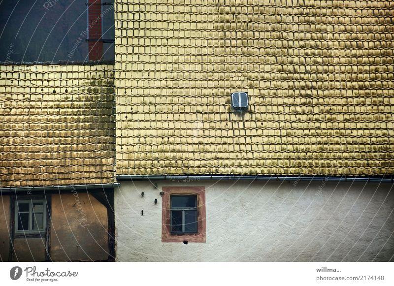Hausdächer historischer Häuser Klosterbuch Dorf Bauwerk Gebäude Architektur Ziegeldach Dachziegel Luke Fenster Biberschwanz gelb tief mittelalterlich ländlich