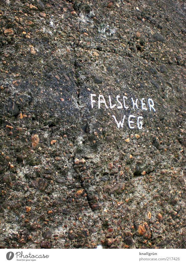 Falscher Weg Wand grau Mauer Wege & Pfade Kommunizieren Schriftzeichen Typographie Wort falsch Warnhinweis Hinweis Empfehlung Warnung verkehrt