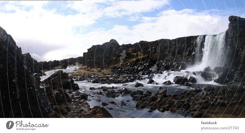 Icelandic Falls Island Panorama (Aussicht) Wasserfall Öxaràrfoss Berge u. Gebirge groß Panorama (Bildformat)