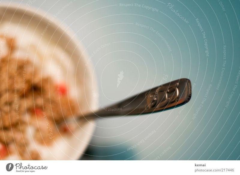 Bärenlöffel blau Ernährung Lebensmittel Tisch Geschirr lecker Frühstück Bioprodukte Schalen & Schüsseln Besteck Löffel Teddybär Licht Kontrast Müsli Vegetarische Ernährung