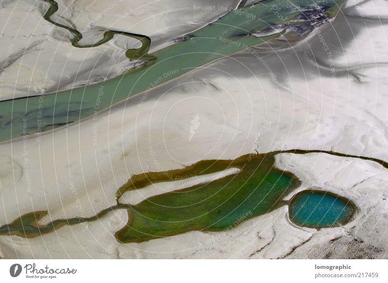 Milch-Zauber Natur Wasser grün blau ruhig Erholung Gefühle Berge u. Gebirge grau See Sand Landschaft Stimmung Umwelt Fluss abstrakt