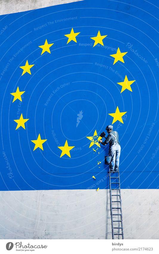 EU-Austritt / relaunch Baustelle maskulin 1 Mensch Kunstwerk Mauer Wand Leiter Zeichen Graffiti Europafahne Arbeit & Erwerbstätigkeit außergewöhnlich blau gelb