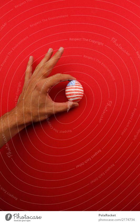 #A# US-Holding Kunst ästhetisch Ei USA Stars and Stripes US-Armee US-Open Fahne holding rot blau Finger festhalten angemalt Farbfoto mehrfarbig Außenaufnahme