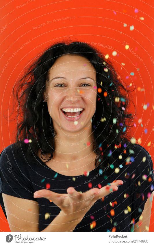 #A# Konfetti-Orange Mensch Frau Freude feminin ästhetisch Überraschung spaßig Spaßvogel Freudenfeuer Spaßgesellschaft Freudenspender