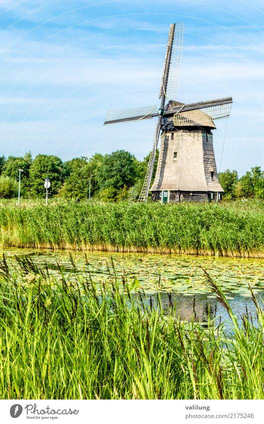 Traditionelle niederländische Windmühle Ferien & Urlaub & Reisen Tourismus Landschaft Park Fluss Gebäude Architektur grün Alkmaar Europa Niederlande Kanal