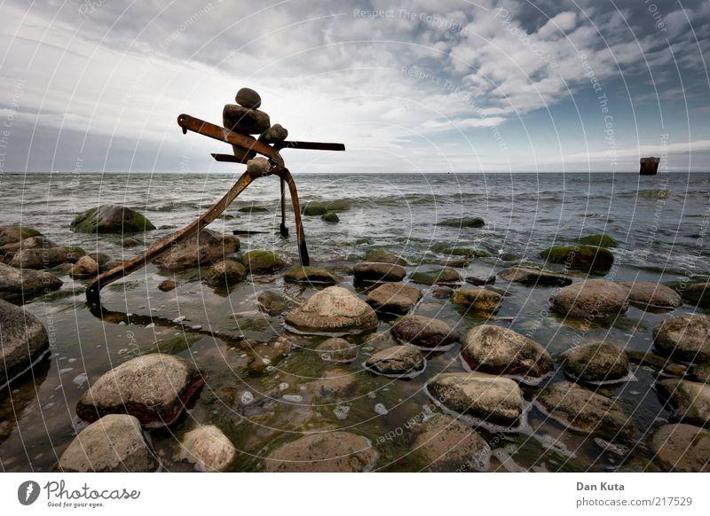 Meereskunst Ferne Herbst träumen Zufriedenheit Stimmung Küste Wellen Kunst Horizont Perspektive Insel Kultur Sehnsucht Rost Stein Seeufer