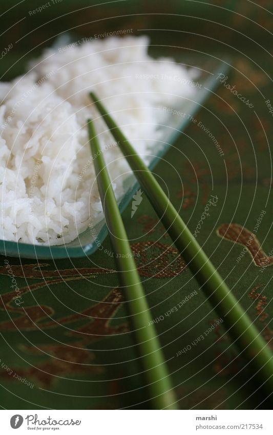 ChingChangChong weiß grün Gesundheit Ernährung Lebensmittel Besteck Tischwäsche Reis Chinesisch Getreide Essstäbchen Foodfotografie Asiatische Küche Glasschale