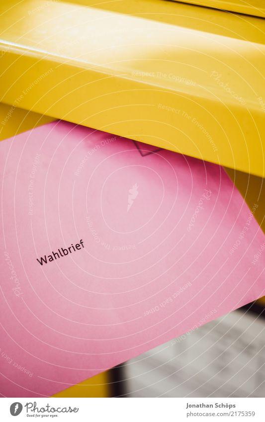 Wahlbrief V gelb rosa Textfreiraum Typographie wählen Gesellschaft (Soziologie) Gesetze und Verordnungen Brief Wahlen demokratisch Entscheidung Entschlossenheit