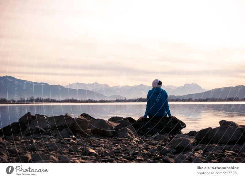 hmmmmmm harmonisch Wohlgefühl Zufriedenheit Sinnesorgane Erholung ruhig Meditation Ausflug Ferne Freiheit Winter Berge u. Gebirge 1 Mensch Landschaft Horizont