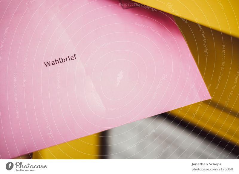Wahlbrief III gelb rosa Textfreiraum Typographie wählen Gesellschaft (Soziologie) Gesetze und Verordnungen Brief Wahlen Entscheidung demokratisch
