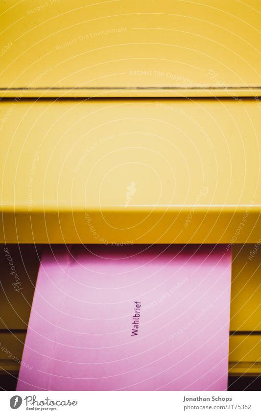 Wahlbrief gelb rosa Textfreiraum Typographie wählen Gesellschaft (Soziologie) Gesetze und Verordnungen Politik & Staat Wahlen Entscheidung demokratisch