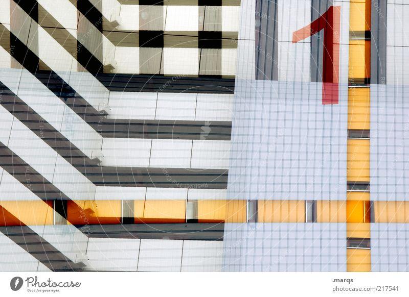 1 weiß Stadt blau rot schwarz gelb Stil Gebäude Linie Architektur Design Hochhaus Fassade verrückt Lifestyle