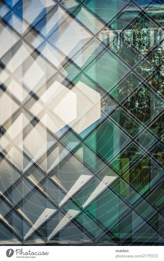 Semitransparenz Hauptstadt Haus Bauwerk Gebäude Architektur Mauer Wand Fassade Fenster nah neu blau grau grün schwarz weiß durchsichtig Reflexion & Spiegelung