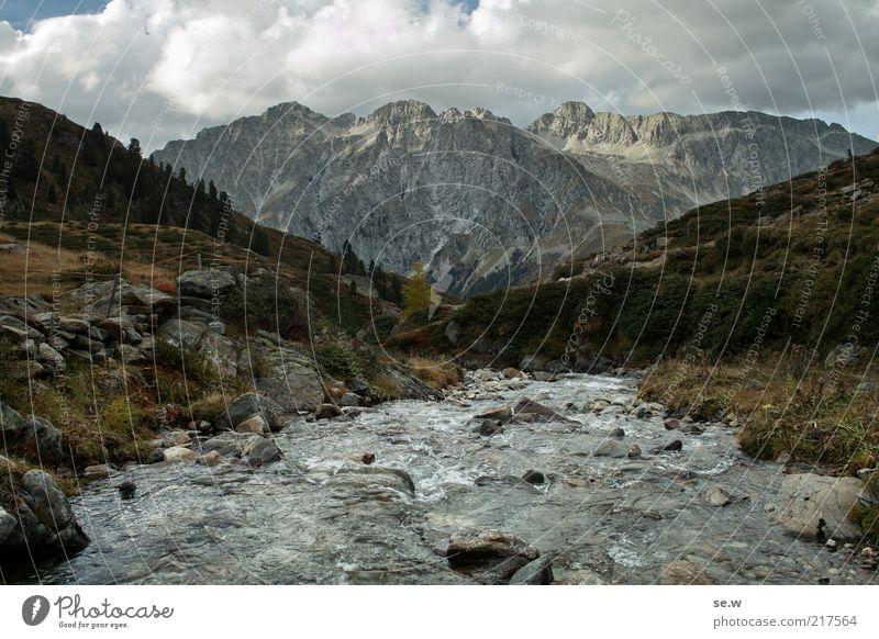 The big X | Antholz [7] Wasser ruhig Wolken Einsamkeit Ferne dunkel kalt Erholung Berge u. Gebirge grau Felsen Fluss Romantik Alpen Unendlichkeit Gipfel
