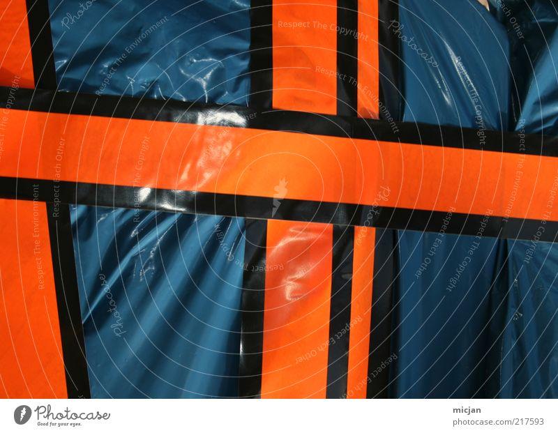 Trashfactor | Coming Soon blau schwarz Linie orange glänzend Design Ordnung Müll Kreuz Kunststoff Hinweisschild Barriere Warnhinweis verbinden graphisch Detailaufnahme