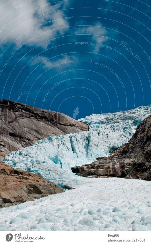 Eiszeit Himmel Natur weiß blau Wolken Berge u. Gebirge Stein braun Kraft Felsen gefährlich Frost einzigartig Ziel außergewöhnlich
