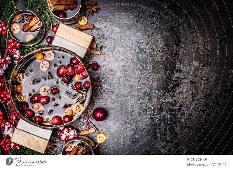 Topf und Becher mit Glühwein und Weihnachtsdekoration Getränk Heißgetränk Tasse Stil Design Winter Feste & Feiern Weihnachten & Advent Dekoration & Verzierung