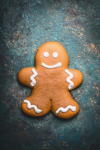 Lebkuchenmann Teigwaren Backwaren Süßwaren Ernährung Stil Design Winter Dekoration & Verzierung Feste & Feiern Weihnachten & Advent grinsen Plätzchen Farbfoto