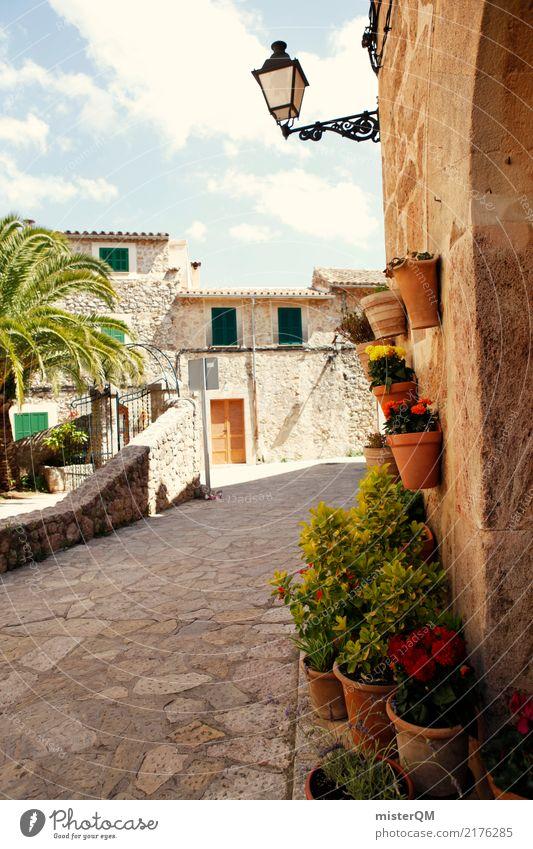 Mallorca Dorf Klima Spanien Straße mediterran Lampe Farbfoto mehrfarbig Menschenleer Tag Starke Tiefenschärfe Totale