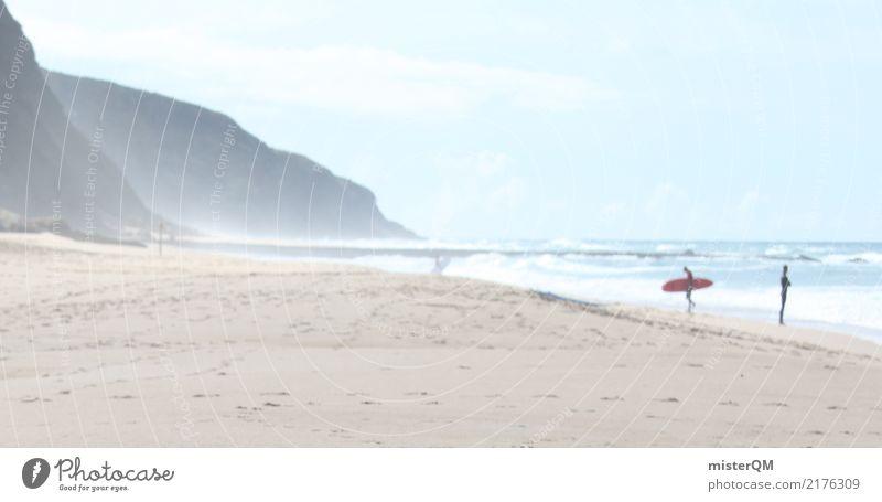 Küstenleben. Natur Klima Brandung Surfer Portugal Strand Meer Farbfoto Außenaufnahme Textfreiraum links Textfreiraum rechts Textfreiraum oben