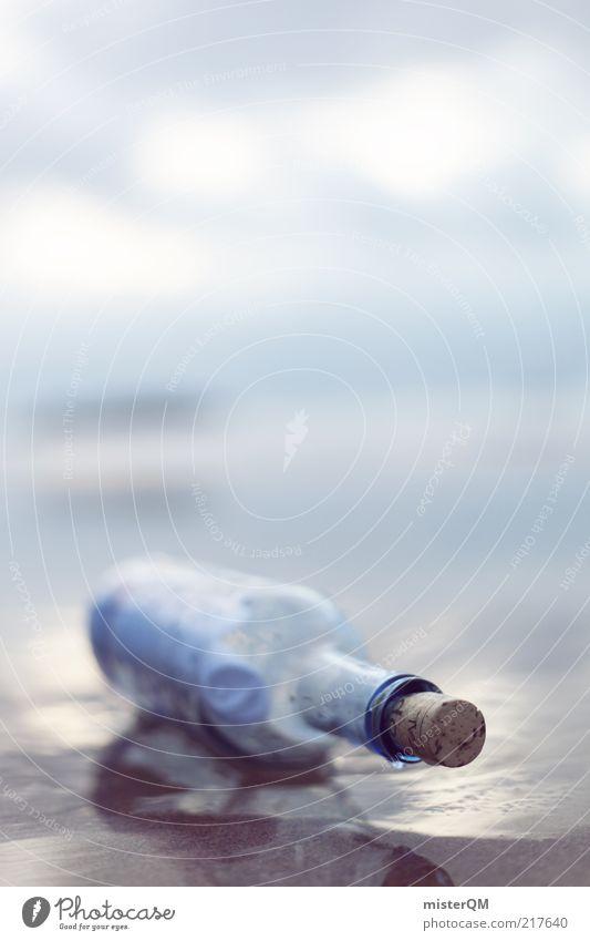 Übersee. ästhetisch Flaschenpost Meer Post Information Kommunikationsmittel Fundstück Strandgut Sand Meerwasser salzig Korken altmodisch dezent ruhig harmonisch