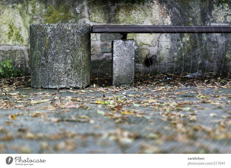 Oase Ost grün Wand grau Stein Mauer nass Beton trist Pause Bank schäbig Moos Sitzgelegenheit Erinnerung Müllbehälter Herbstlaub