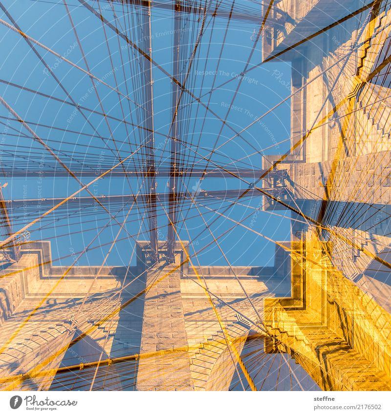Blick nach oben 7 New York Manhattan Froschperspektive Brooklyn Brooklyn Bridge Doppelbelichtung