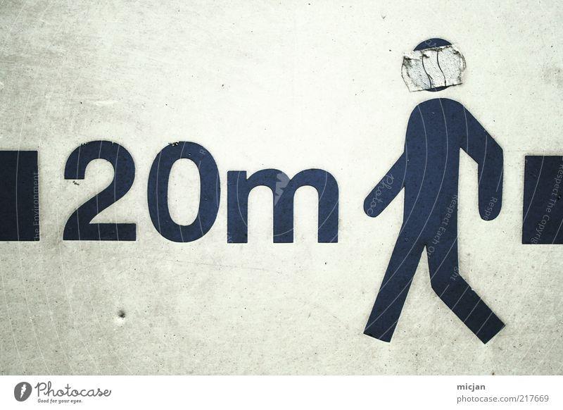 20 Meter Man |Cowboy Funk Mensch Mann weiß schwarz dreckig gehen laufen Schilder & Markierungen maskulin Buchstaben Ziffern & Zahlen einfach geheimnisvoll Zeichen Verkehrswege Typographie