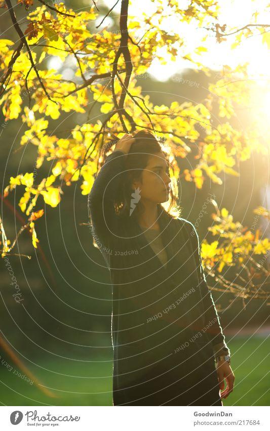 Der Sonne trotzen II Mensch feminin Junge Frau Jugendliche Umwelt Natur Park entdecken Erholung genießen schön Wärme Gefühle Stimmung frei Herbst Farbfoto