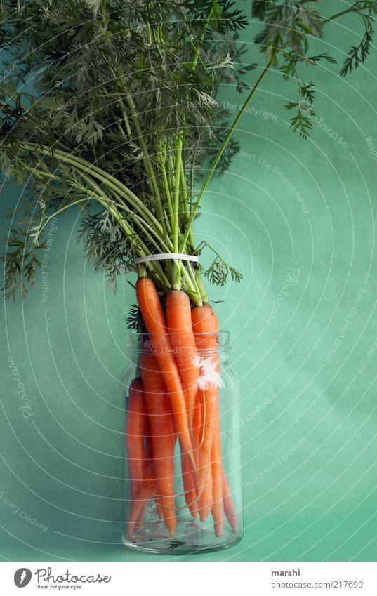 die volle Pracht Lebensmittel Gemüse Ernährung Bioprodukte Vegetarische Ernährung Diät Gesundheit grün orange Möhre Glas Behälter u. Gefäße Grünpflanze