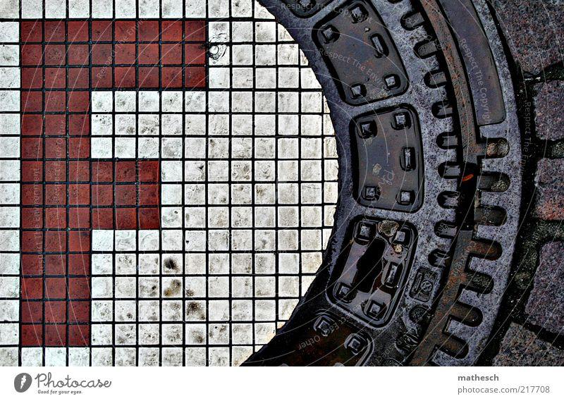 F Straße Stein Metall Wasser Zeichen Schriftzeichen rot weiß Gully Verschlussdeckel Regen nass Farbfoto Außenaufnahme Menschenleer Tag Kontrast Vogelperspektive