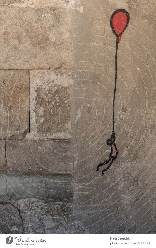 Fly away Stein Beton Zeichen Graffiti Unendlichkeit lustig grau rot Straßenkunst Luftballon fliegen Flucht Abheben Beginn Wandel & Veränderung Abenteuer