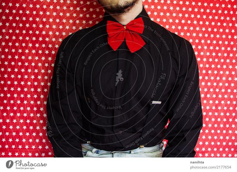 Mensch Mann weiß rot schwarz Erwachsene Lifestyle Stil Mode Feste & Feiern Stimmung maskulin Körper retro modern elegant