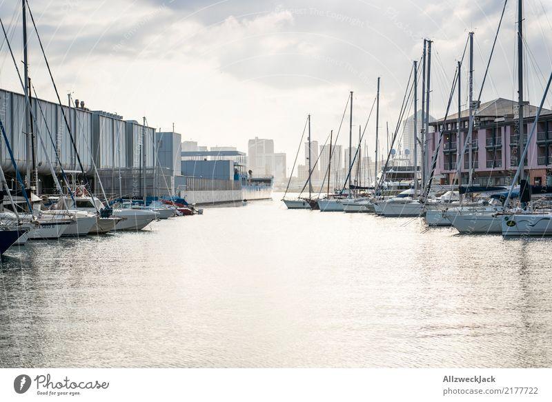 Genua 1 Ferien & Urlaub & Reisen Ausflug Sightseeing Städtereise Hafenstadt Schifffahrt Segelboot Segelschiff Jachthafen maritim Wasser Skyline Wolken