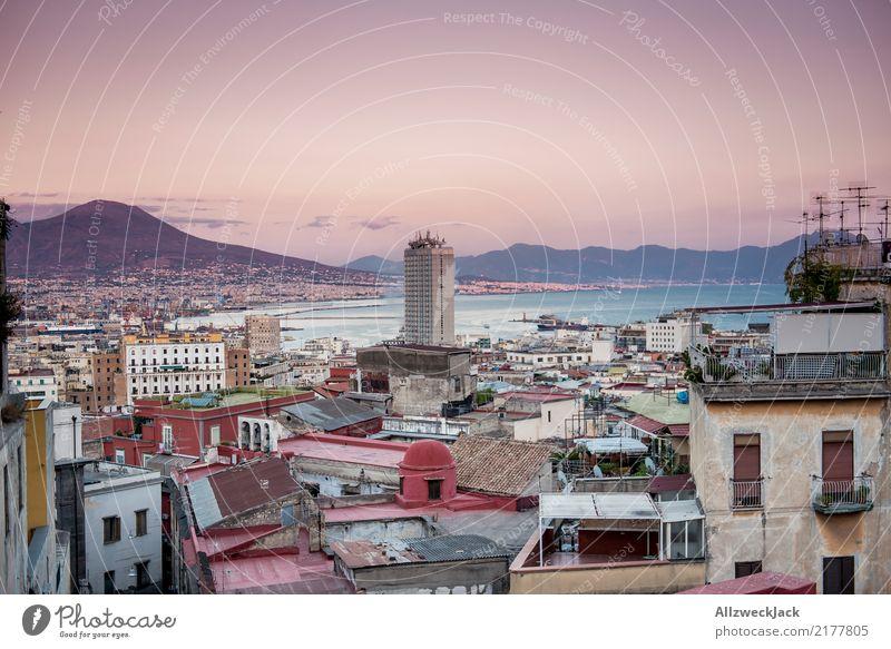 Neapel Panorama 4 Farbfoto Außenaufnahme Dämmerung Panorama (Aussicht) Menschenleer Textfreiraum oben Ferien & Urlaub & Reisen Ausflug Ferne Sightseeing