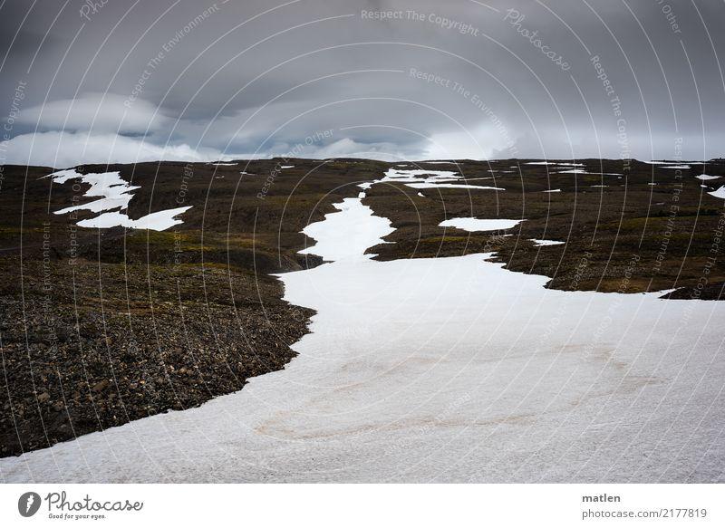 isländischer Frühling Natur Landschaft Pflanze Himmel Wolken Horizont Wetter Wind Schnee Moos Felsen Berge u. Gebirge Menschenleer dunkel natürlich blau braun