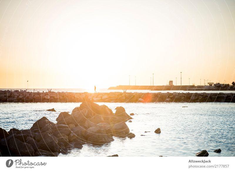 Joggen im Sonnenuntergang Himmel Ferien & Urlaub & Reisen Wasser Meer Einsamkeit Ferne Küste hell Idylle laufen einzeln Laufsport Wolkenloser Himmel