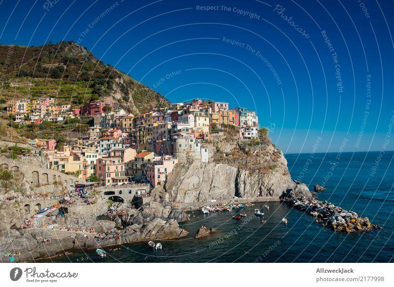Cinque Terre 2 Ferien & Urlaub & Reisen Sommer Meer Berge u. Gebirge Küste Tourismus Felsen Ausflug ästhetisch Idylle Insel Kultur Schönes Wetter Sommerurlaub