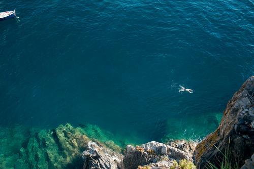 freischwimmer 1 Ferien & Urlaub & Reisen Tourismus Ausflug Abenteuer Freiheit Sommer Sommerurlaub Meer Mensch Mann Erwachsene Körper Küste Bucht genießen