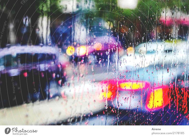 blinking in the rain Wassertropfen schlechtes Wetter Regen Verkehr Verkehrsmittel Berufsverkehr Straßenverkehr Autofahren Busfahren Verkehrsstau PKW Flüssigkeit