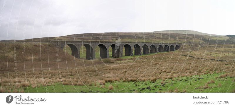Yorkshire Dales Viadukt (Panorama) Gras Landschaft groß Verkehr Eisenbahn Brücke England Panorama (Bildformat) Großbritannien