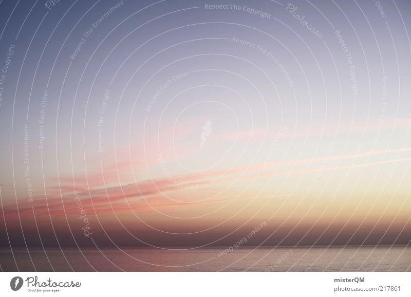 Open Sky. Umwelt Natur Erde Luft Himmel Horizont Sommer Klima Klimawandel Wetter ästhetisch ruhig Abenddämmerung Meer Ferne rosa Wolken Cirrus dezent