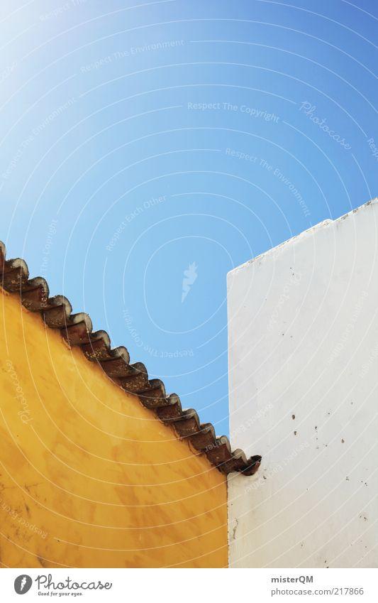 UMS.ECK ästhetisch Architektur Fassade Fassadenverkleidung Kontrast gelb Blauer Himmel Sommer mediterran eckig Ecke Dach Symmetrie Geometrie gerade Haus
