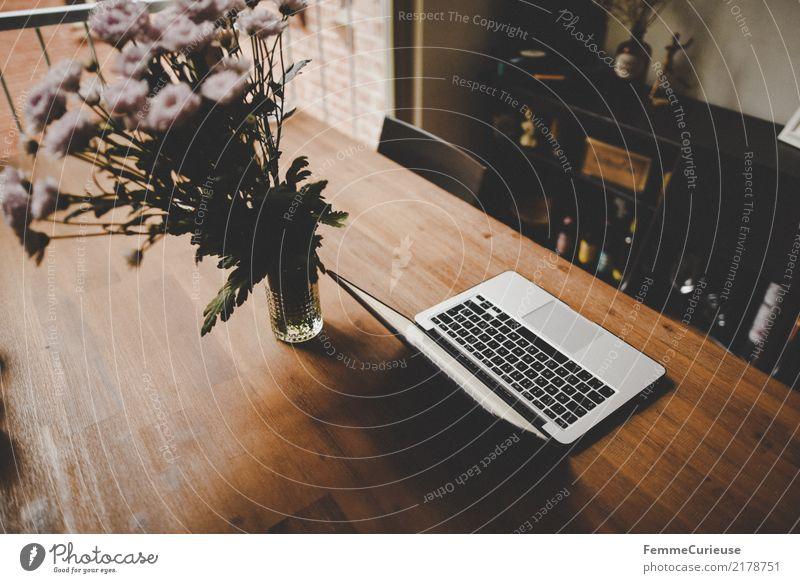 Home_02 Blume Lifestyle Innenarchitektur Stil Holz Design Wohnung Häusliches Leben Büro modern Dekoration & Verzierung Blumenstrauß trendy Wohnzimmer Notebook