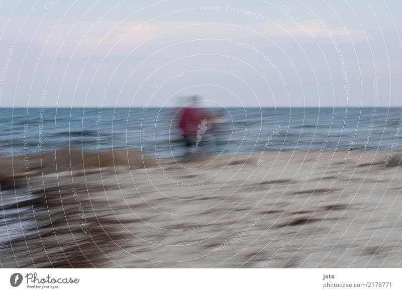 Stranderinnerung Ferien & Urlaub & Reisen Ausflug Ferne Meer Kindererziehung Vater Erwachsene Familie & Verwandtschaft Kindheit Leben beobachten genießen
