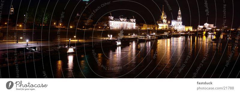 Skyline Dresden (Panorama) Nacht Panorama (Aussicht) Architektur Wasser groß Panorama (Bildformat)